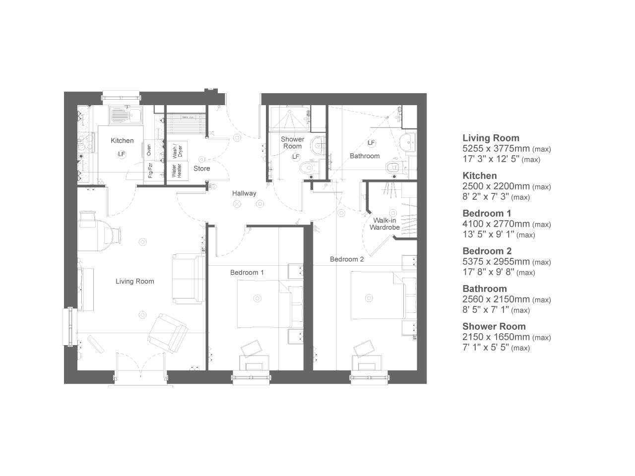 Retirement Property Typical 2 bedroom Priced at £259,999