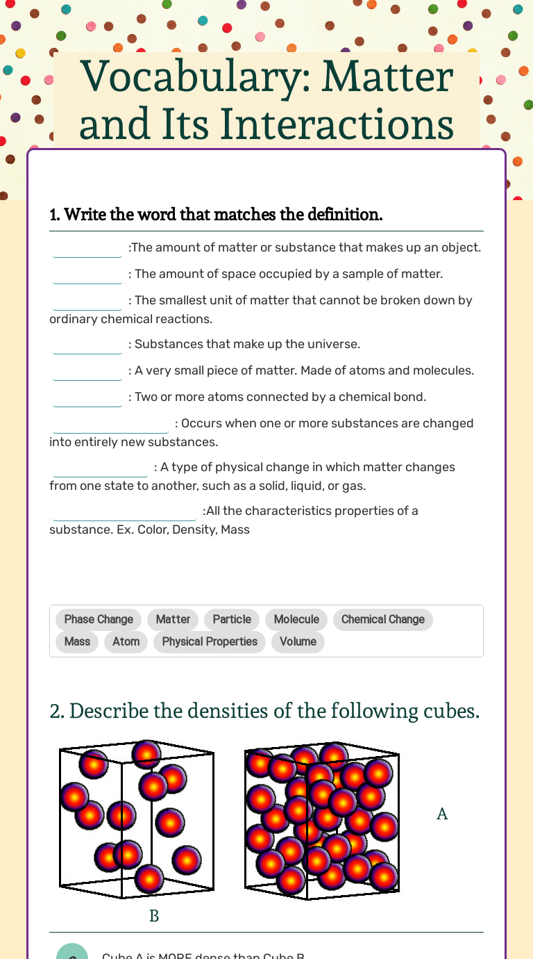 Vocabulary: Matter and Its Interactions   Interactive Worksheet by Jenny  Martin   Wizer.me [ 1380 x 768 Pixel ]