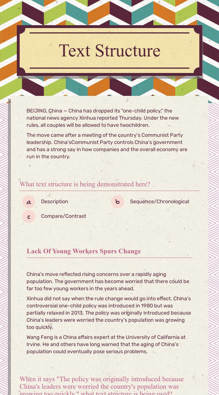 Text Structure   Interactive Worksheet by Brittney Johnston   Wizer.me [ 1380 x 768 Pixel ]