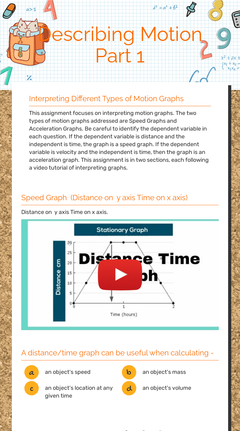 Describing Motion Part 1   Interactive Worksheet by Vernell Leavings    Wizer.me [ 1380 x 768 Pixel ]