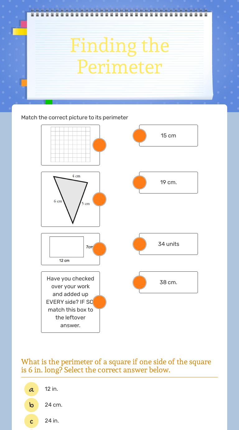 medium resolution of Finding the Perimeter   Interactive Worksheet by Katie Clark   Wizer.me
