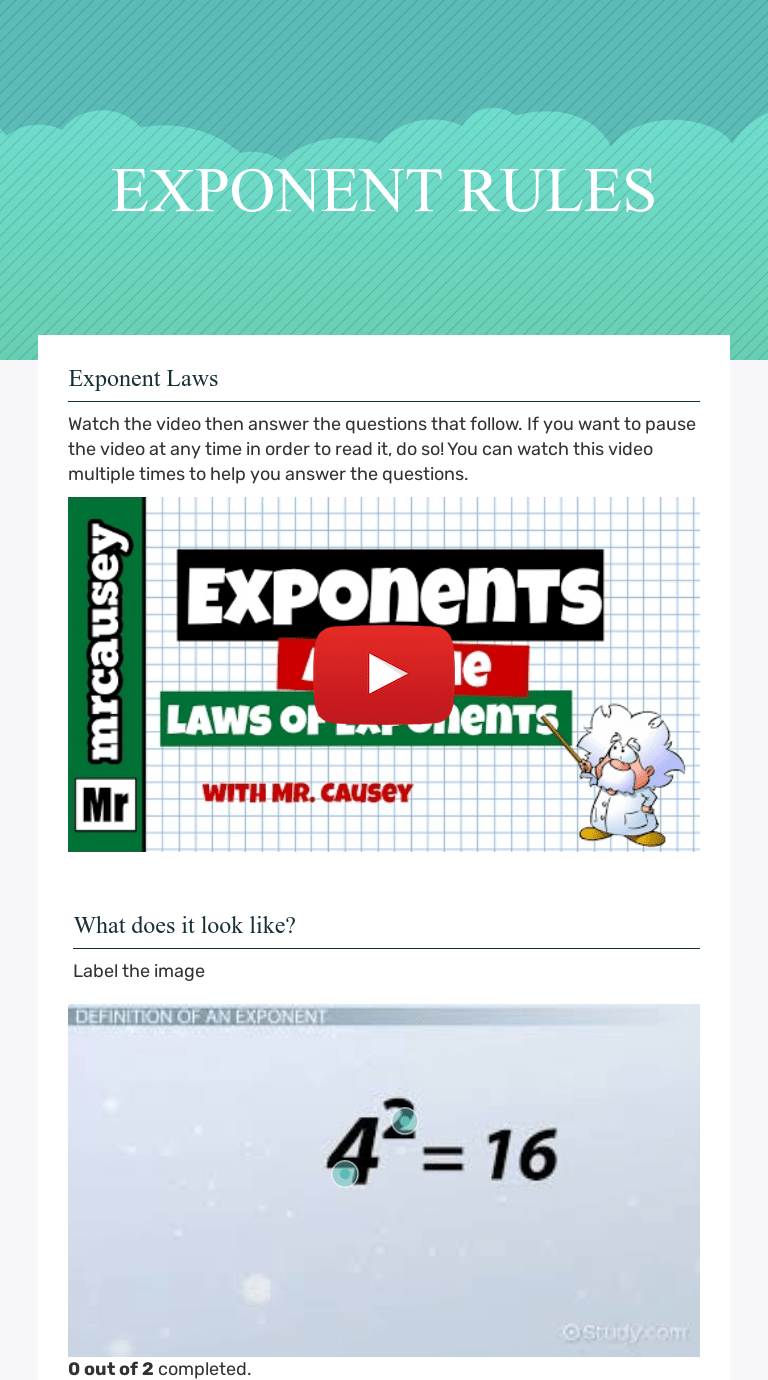 EXPONENT RULES   Interactive Worksheet by Jessica Silknitter   Wizer.me [ 1380 x 768 Pixel ]