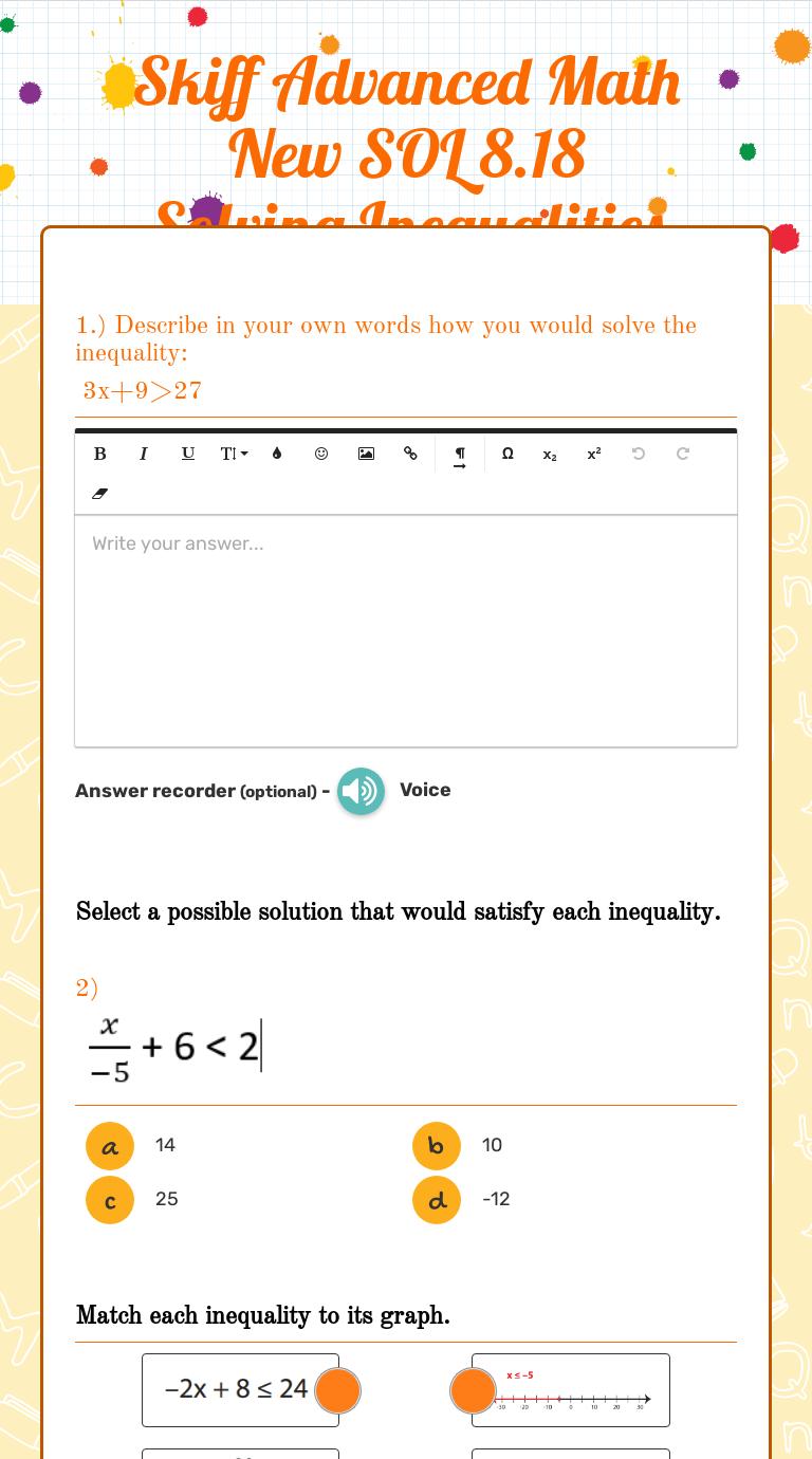 Skiff Advanced Math New SOL 8.18 Solving Inequalities   Interactive  Worksheet by Amanda Skiff   Wizer.me [ 1380 x 768 Pixel ]