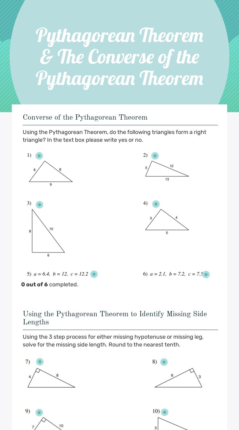 Pythagorean Theorem \u0026 The Converse of the Pythagorean Theorem   Interactive  Worksheet by Jennifer Feil   Wizer.me [ 1380 x 768 Pixel ]