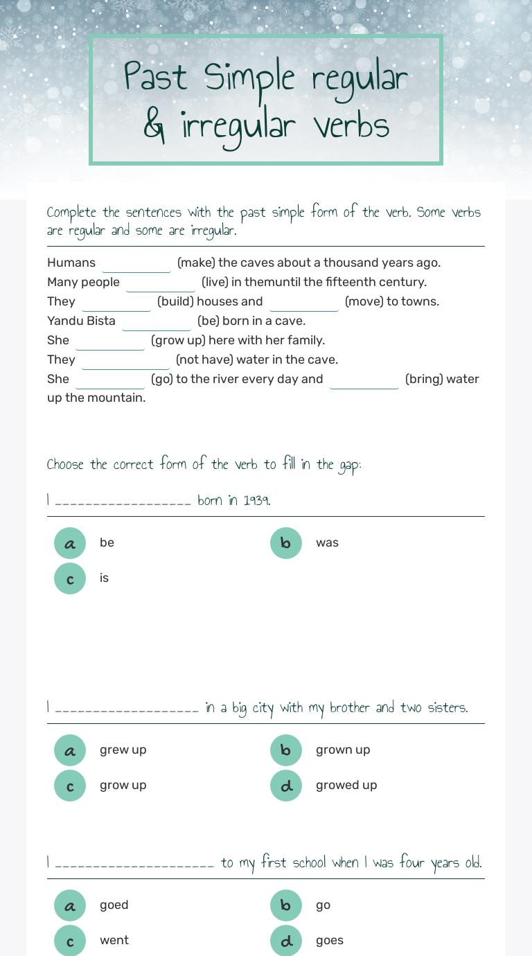 Past Simple regular \u0026 irregular verbs   Interactive Worksheet by Viktoria  Zelenecka   Wizer.me [ 1380 x 768 Pixel ]