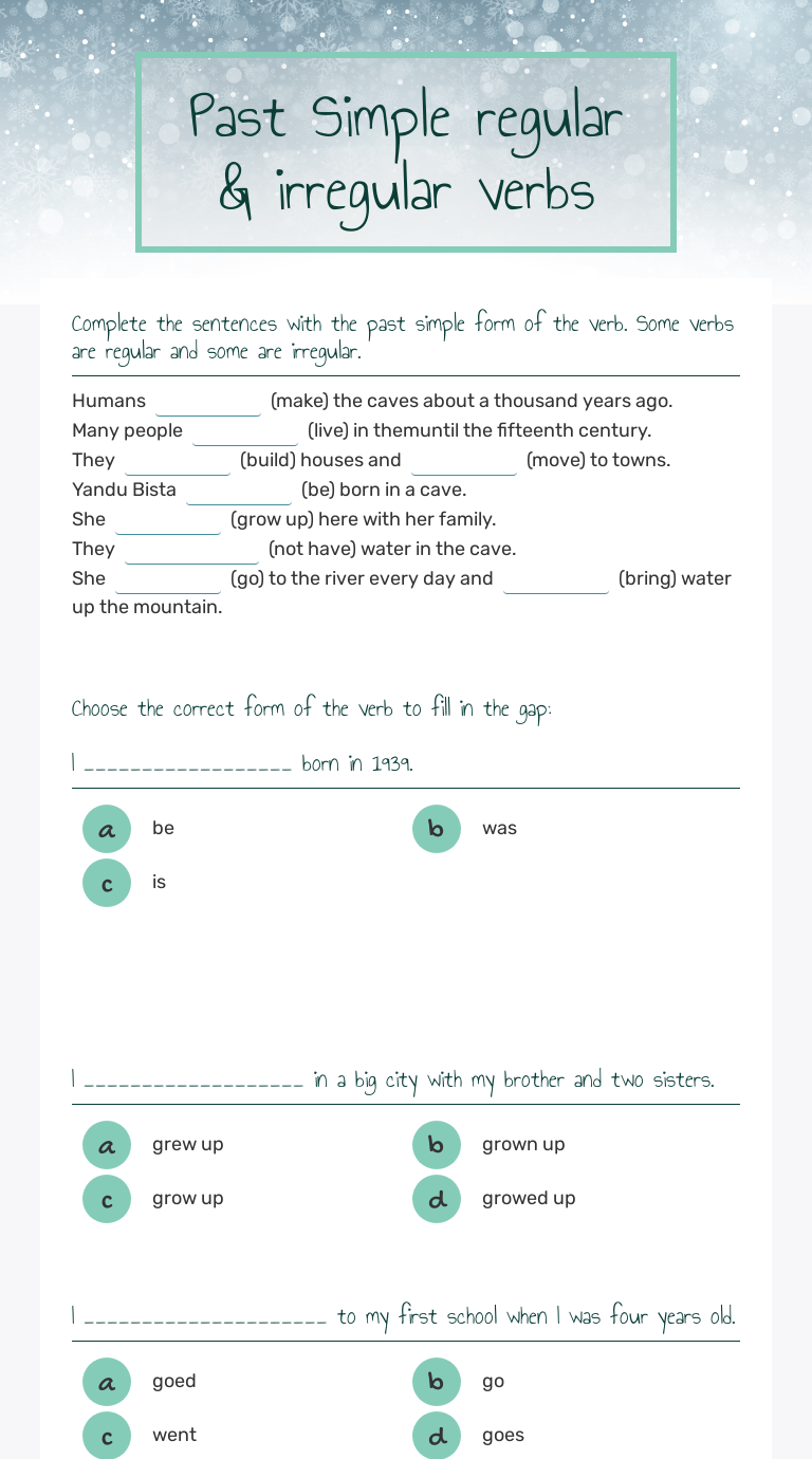small resolution of Past Simple regular \u0026 irregular verbs   Interactive Worksheet by Viktoria  Zelenecka   Wizer.me