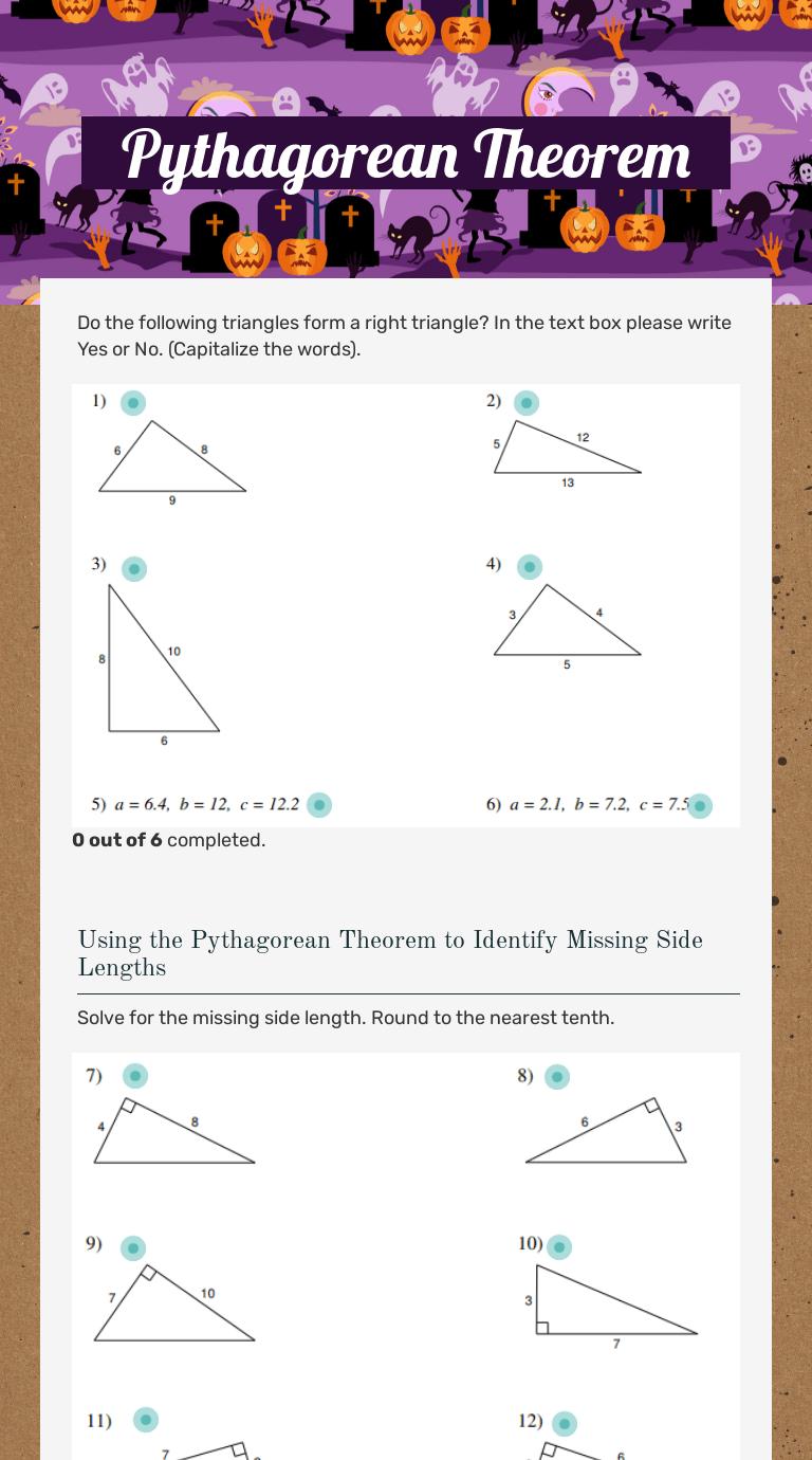 Pythagorean Theorem   Interactive Worksheet by Katie Kenahan   Wizer.me [ 1380 x 768 Pixel ]