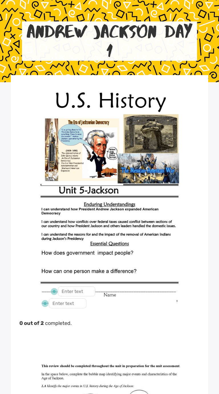 Andrew Jackson Day 1   Interactive Worksheet by DAVID BREAUX   Wizer.me [ 1380 x 768 Pixel ]