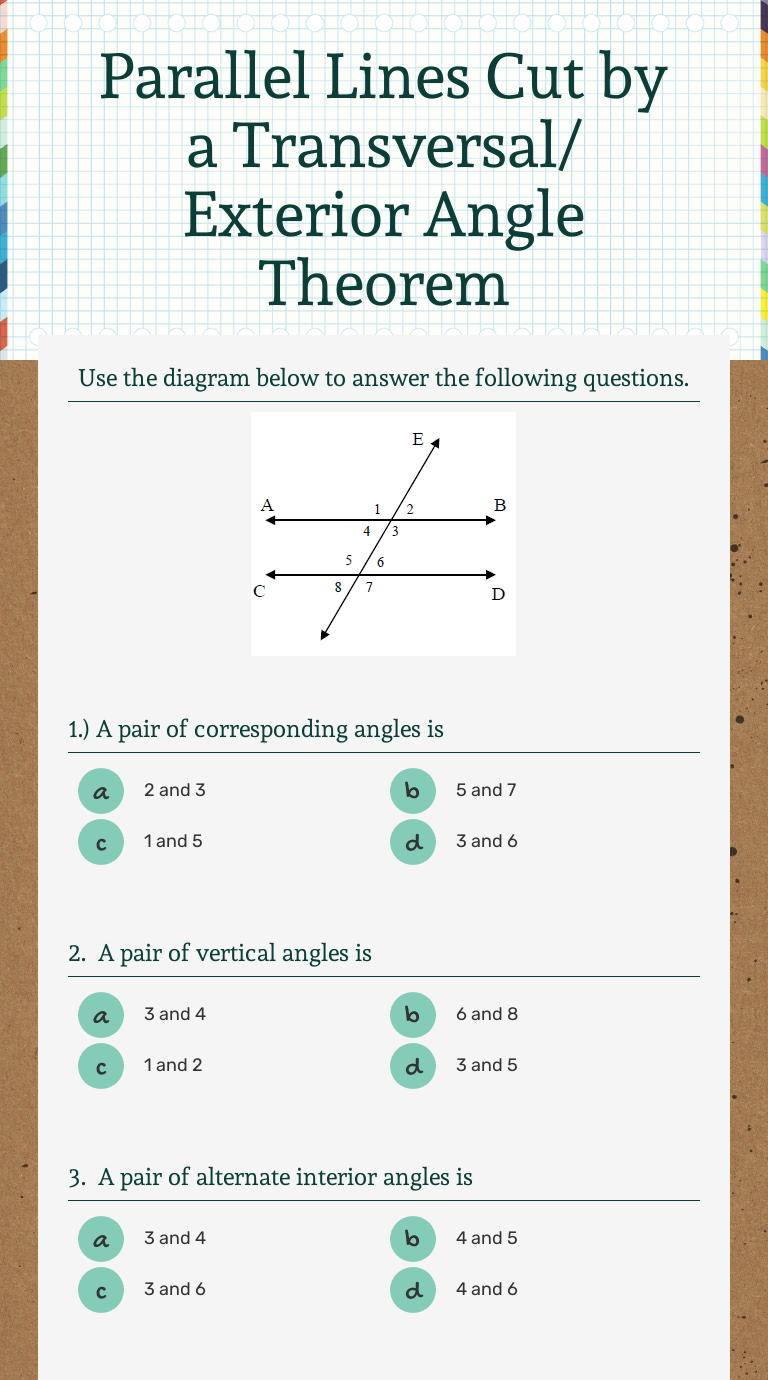 small resolution of Parallel Lines Cut by a Transversal/ Exterior Angle Theorem   Interactive  Worksheet by Cynthia Mclamb   Wizer.me
