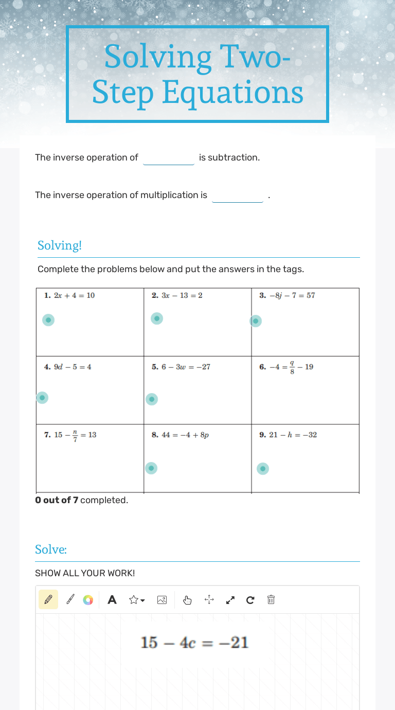 Solving Two-Step Equations   Interactive Worksheet by Lauren Smith    Wizer.me [ 1380 x 768 Pixel ]