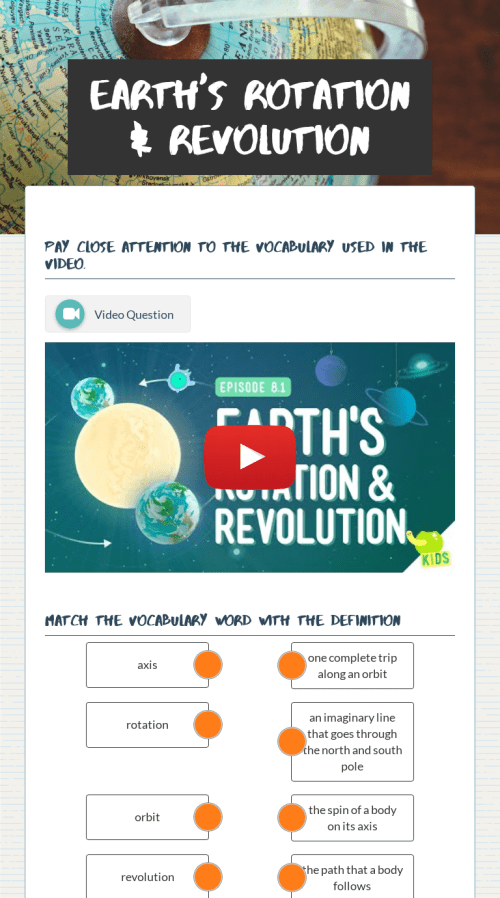 small resolution of Earth's Rotation \u0026 Revolution   Interactive Worksheet by Nicole Parris    Wizer.me