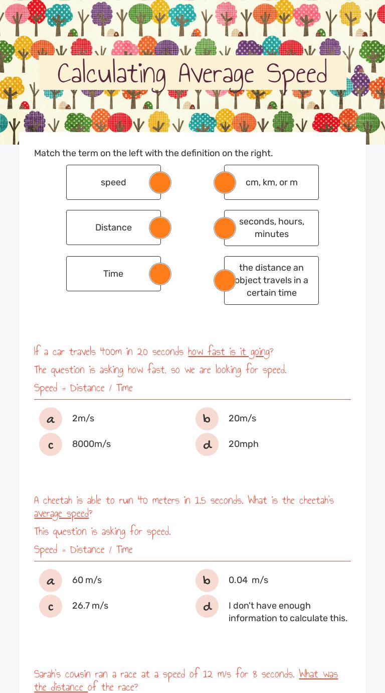 Calculating Average Speed   Interactive Worksheet by Christiana Davis    Wizer.me [ 1380 x 768 Pixel ]
