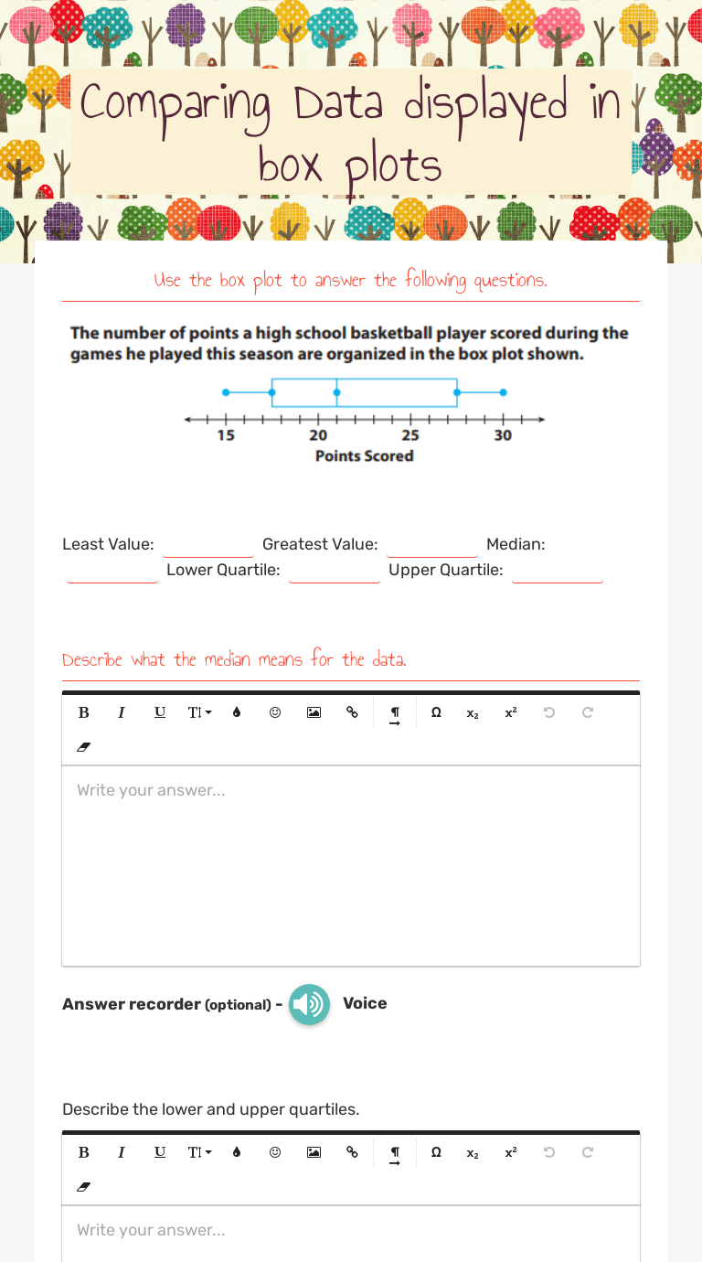 medium resolution of Comparing Data displayed in box plots   Interactive Worksheet by Rupert Cox    Wizer.me