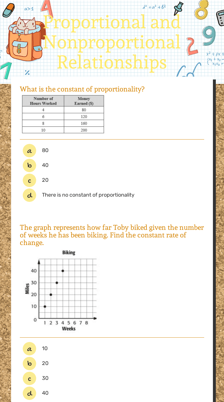 medium resolution of Proportional and Nonproportional Relationships   Interactive Worksheet by  Nick Jamilla   Wizer.me