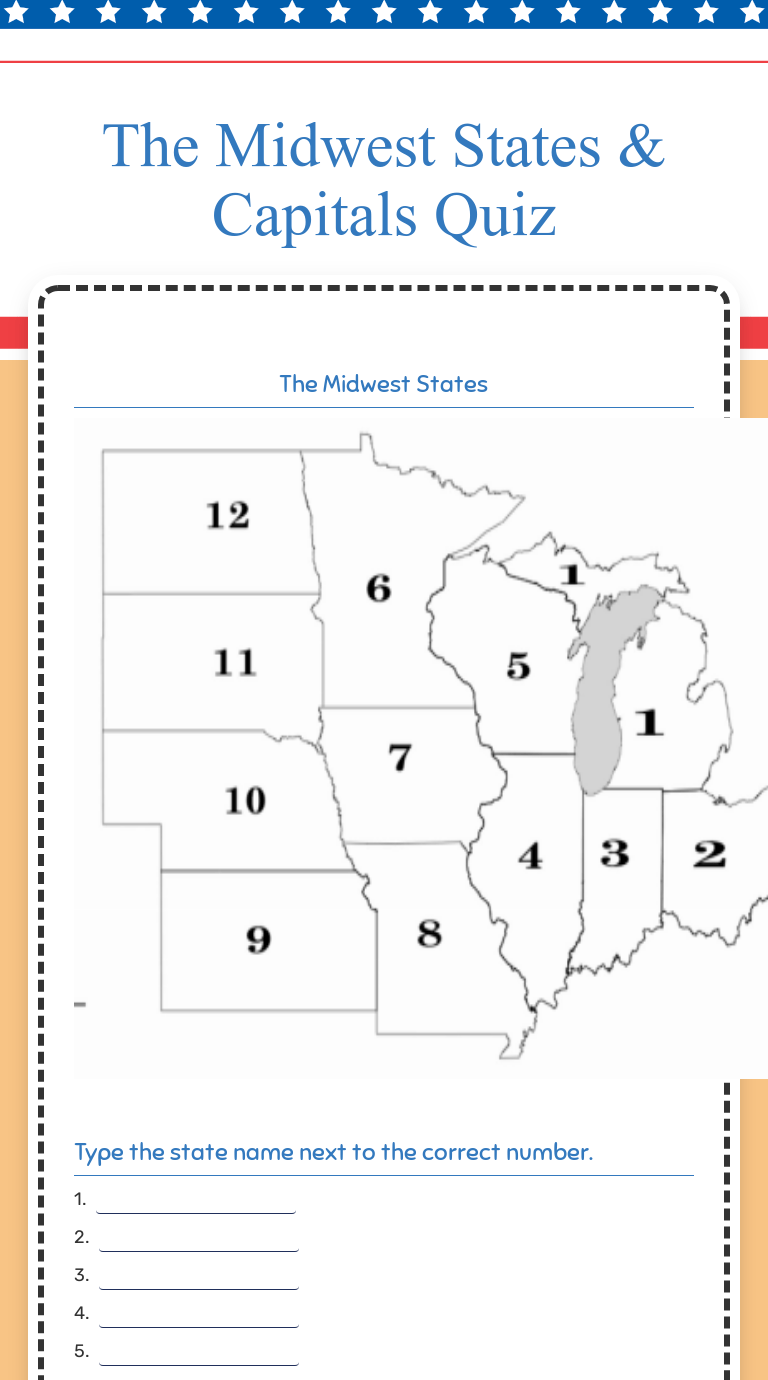 The Midwest States \u0026 Capitals Quiz   Interactive Worksheet by Angie Howard    Wizer.me [ 1380 x 768 Pixel ]