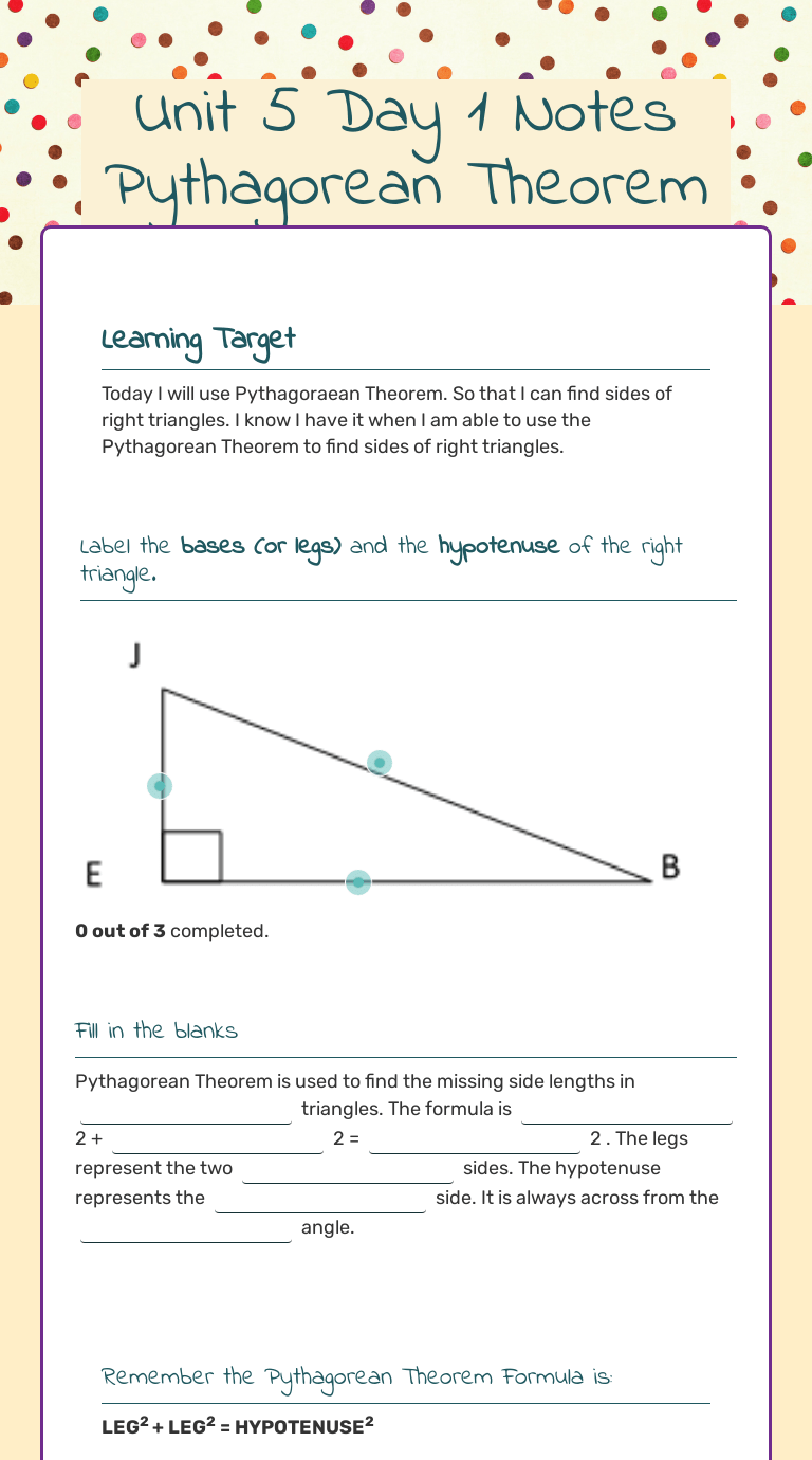 Unit 5 Day 1 Notes Pythagorean Theorem   Interactive Worksheet by V.  Hamilton   Wizer.me [ 1380 x 768 Pixel ]