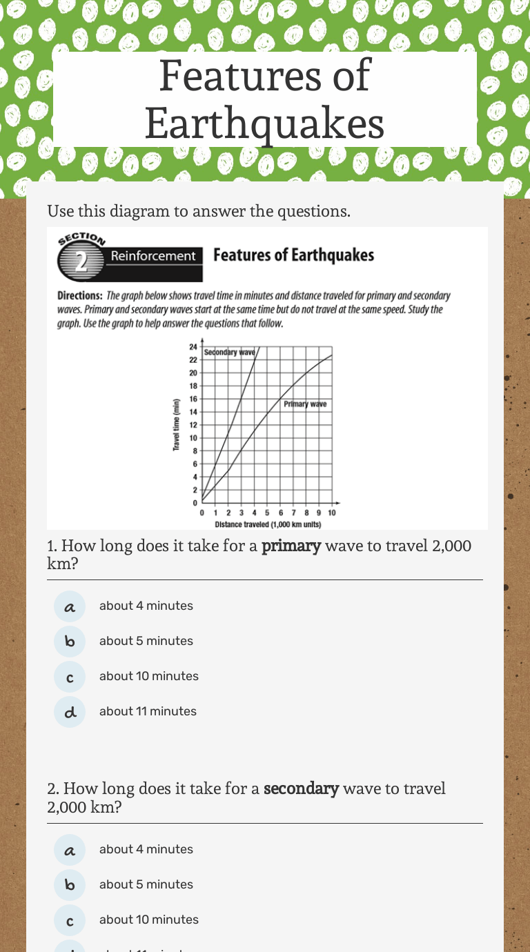 Features of Earthquakes   Interactive Worksheet by Deanna Harrell   Wizer.me [ 1380 x 768 Pixel ]