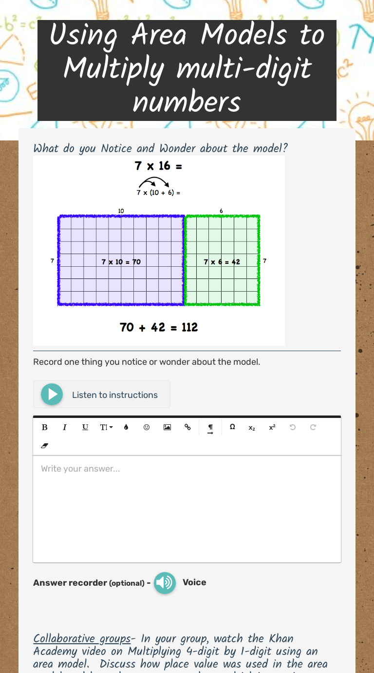Using Area Models to Multiply multi-digit numbers   Interactive Worksheet  by Jessica Baker Braxton   Wizer.me [ 1380 x 768 Pixel ]