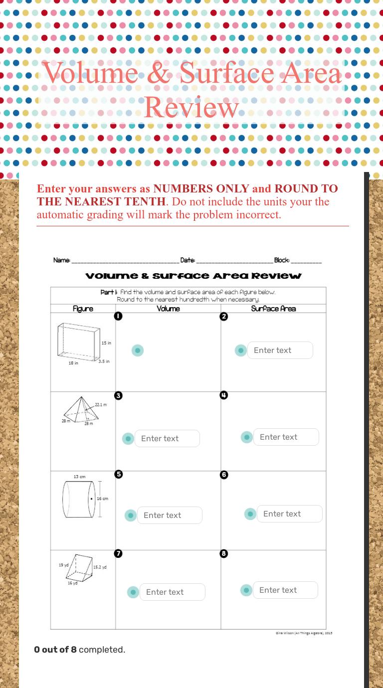 Volume \u0026 Surface Area Review   Interactive Worksheet by Leigh Reinemann    Wizer.me [ 1380 x 768 Pixel ]