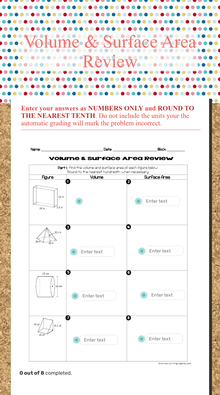 small resolution of Volume \u0026 Surface Area Review   Interactive Worksheet by Leigh Reinemann    Wizer.me
