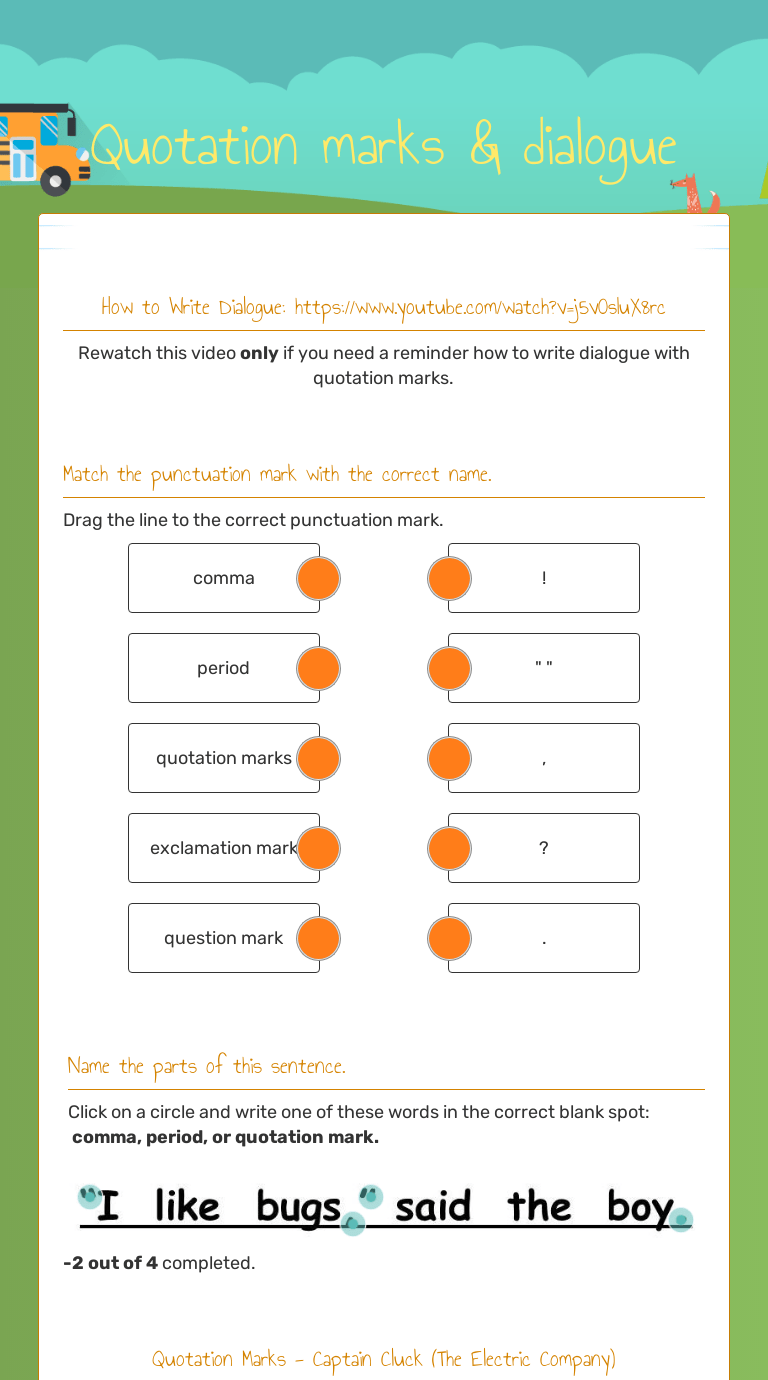 small resolution of Quotation marks \u0026 dialogue   Interactive Worksheet by BENJAMIN PAGEL    Wizer.me