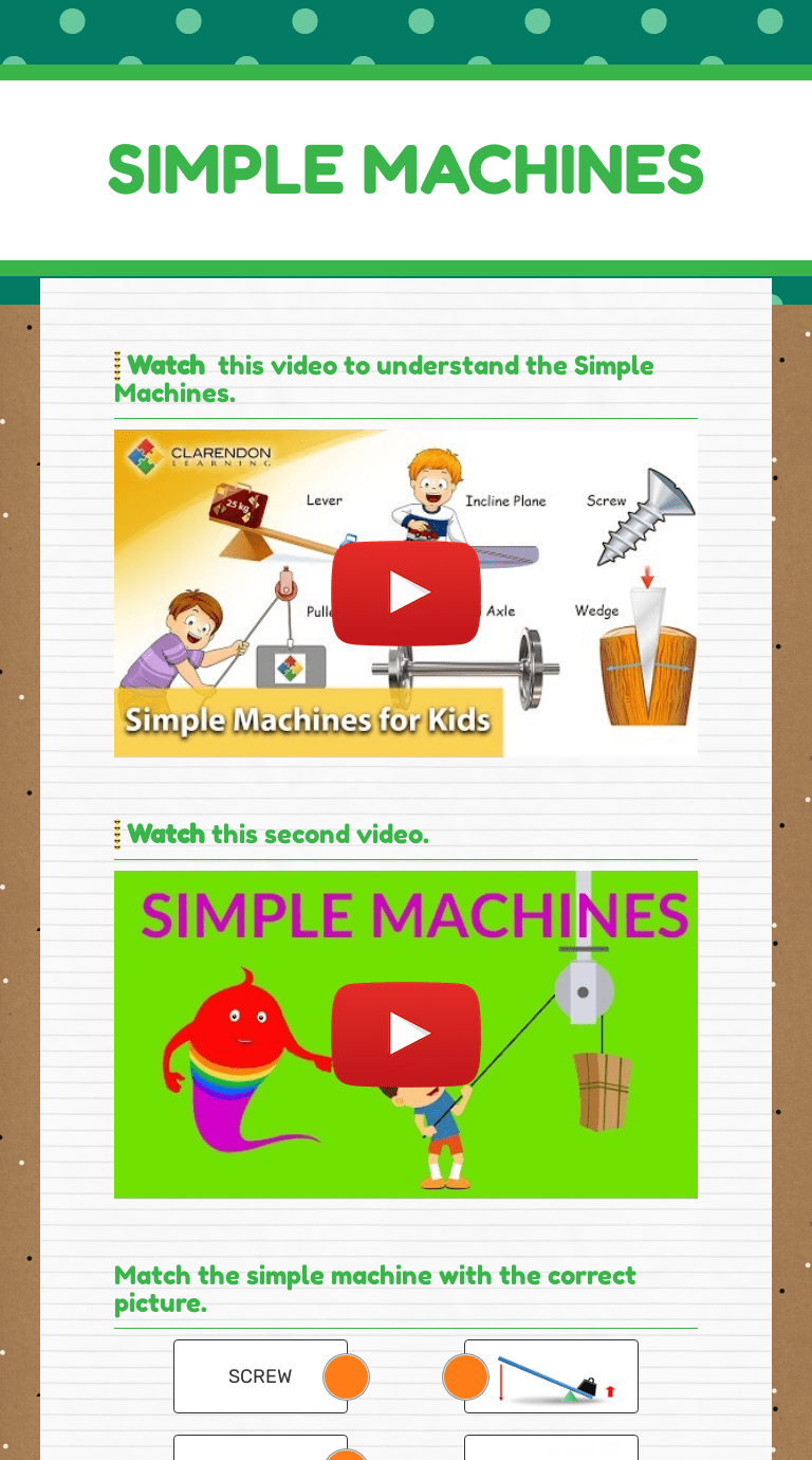 SIMPLE MACHINES   Interactive Worksheet by Shanyn Fleming   Wizer.me [ 1380 x 768 Pixel ]