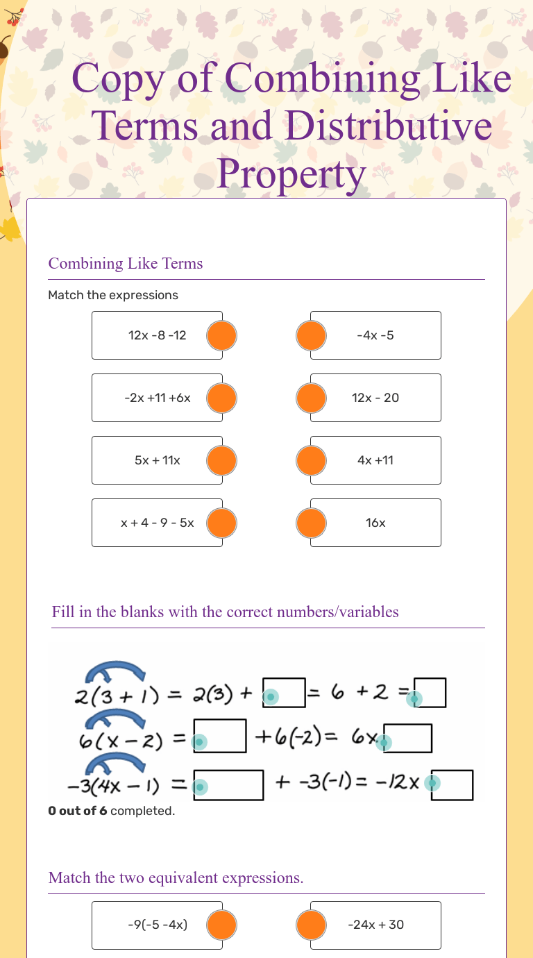 Copy of Combining Like Terms and Distributive Property   Interactive  Worksheet by Joanne Brussich   Wizer.me [ 1380 x 768 Pixel ]