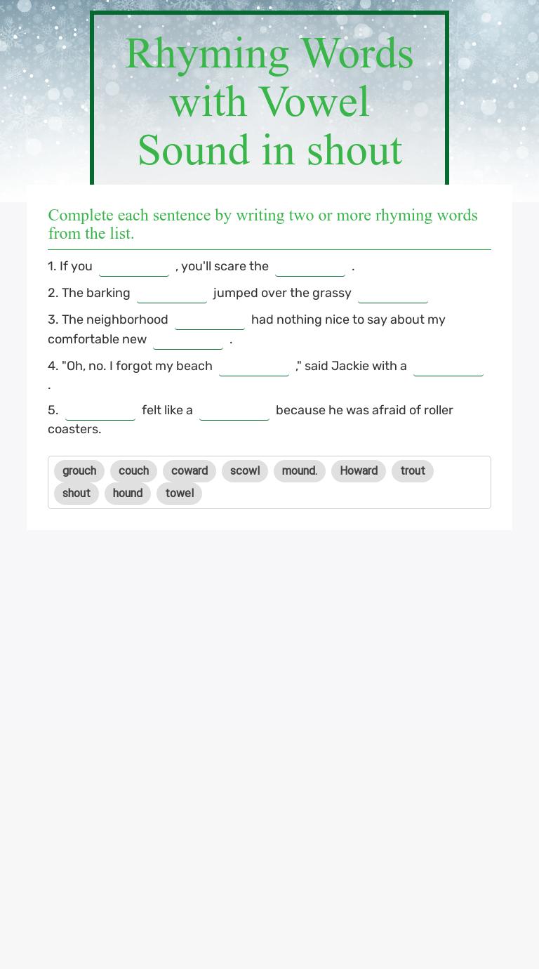 Rhyming Words with Vowel Sound in shout   Interactive Worksheet by Debbie  Lanier   Wizer.me [ 1380 x 768 Pixel ]