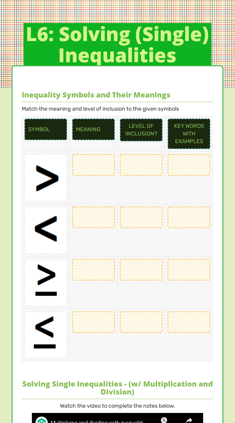 L6: Solving (Single) Inequalities   Interactive Worksheet by Alexis Morales    Wizer.me [ 1380 x 768 Pixel ]