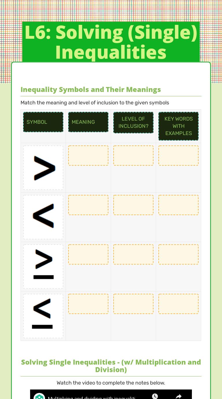 medium resolution of L6: Solving (Single) Inequalities   Interactive Worksheet by Alexis Morales    Wizer.me
