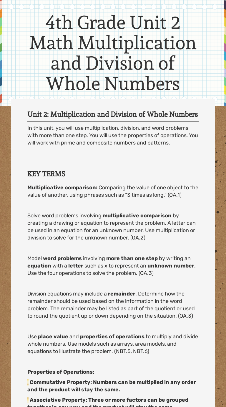 medium resolution of 4th Grade Unit 2 Math Multiplication and Division of Whole Numbers    Interactive Worksheet by Jennifer Brooks   Wizer.me