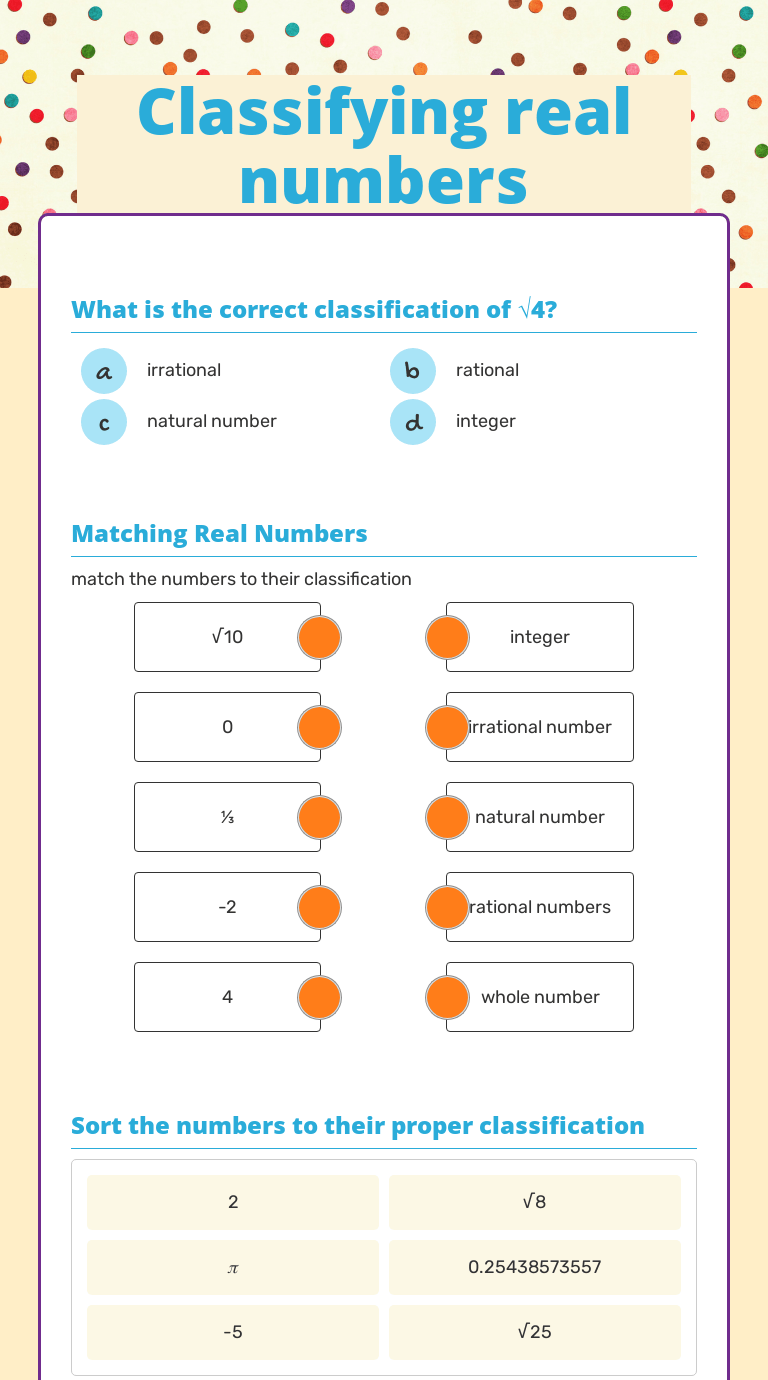 hight resolution of Classifying real numbers   Interactive Worksheet by Chasity  Hawthornelampton   Wizer.me