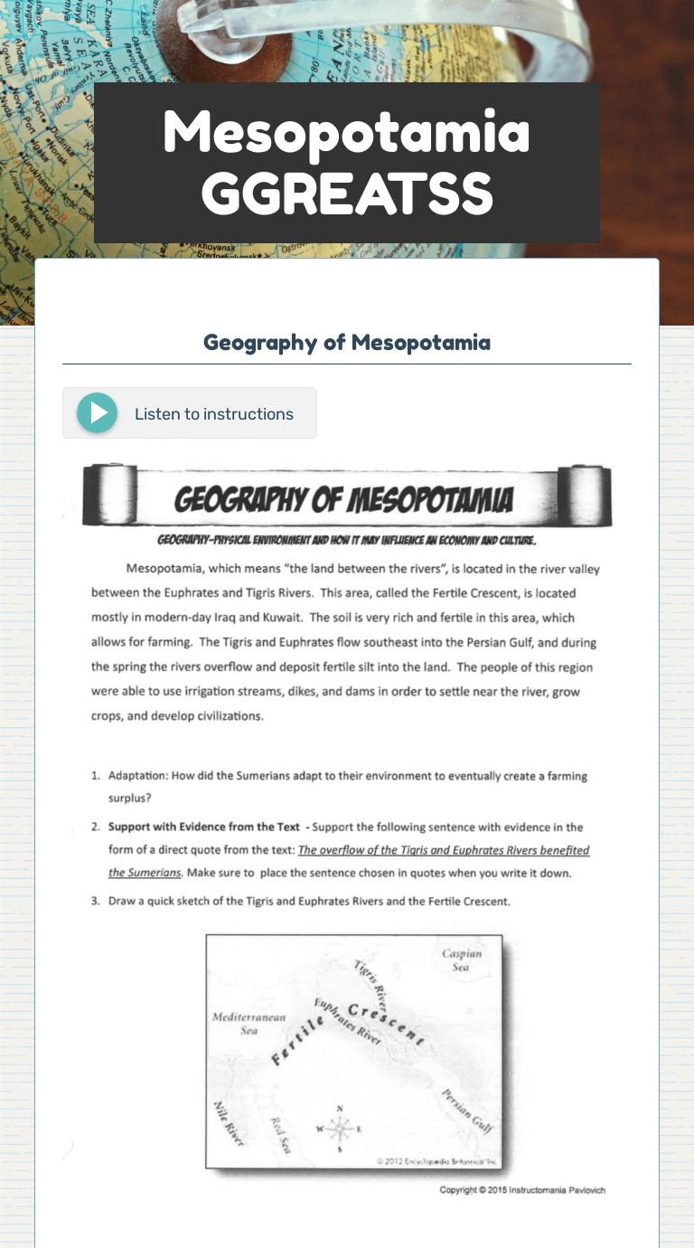 Mesopotamia GGREATSS   Interactive Worksheet by Michelle Walker   Wizer.me [ 1380 x 768 Pixel ]