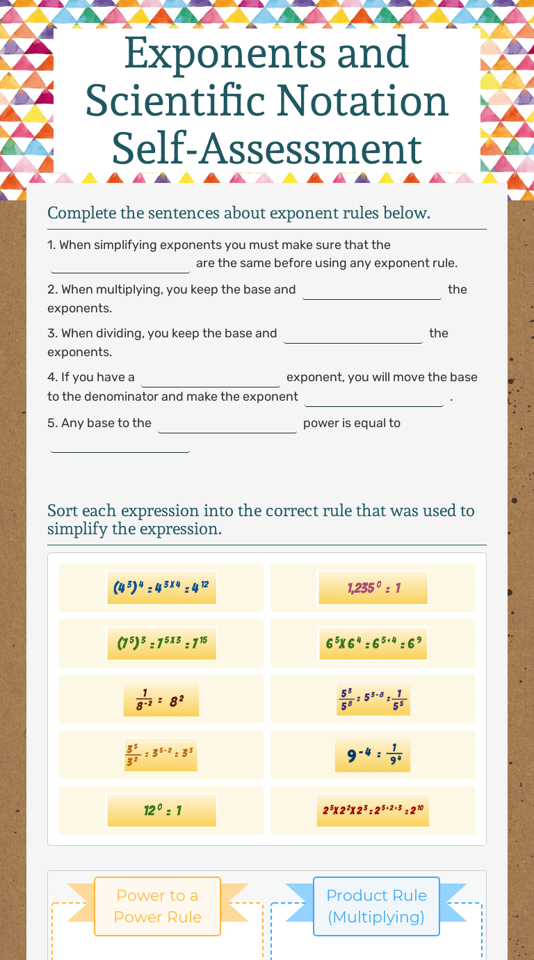 Exponents and Scientific Notation Self-Assessment   Interactive Worksheet  by Nicole Craig   Wizer.me [ 1380 x 768 Pixel ]