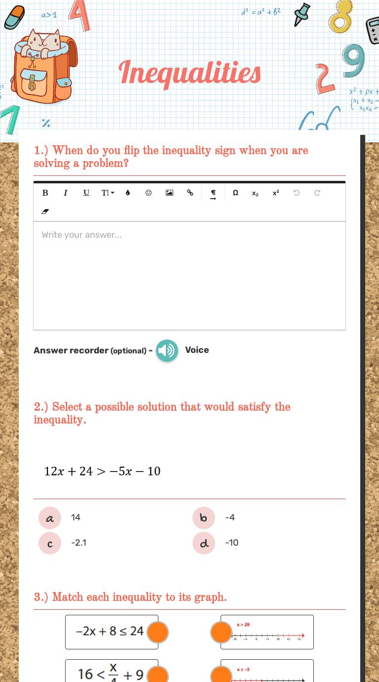 Inequalities   Interactive Worksheet by Laurie Winslow   Wizer.me [ 1380 x 768 Pixel ]