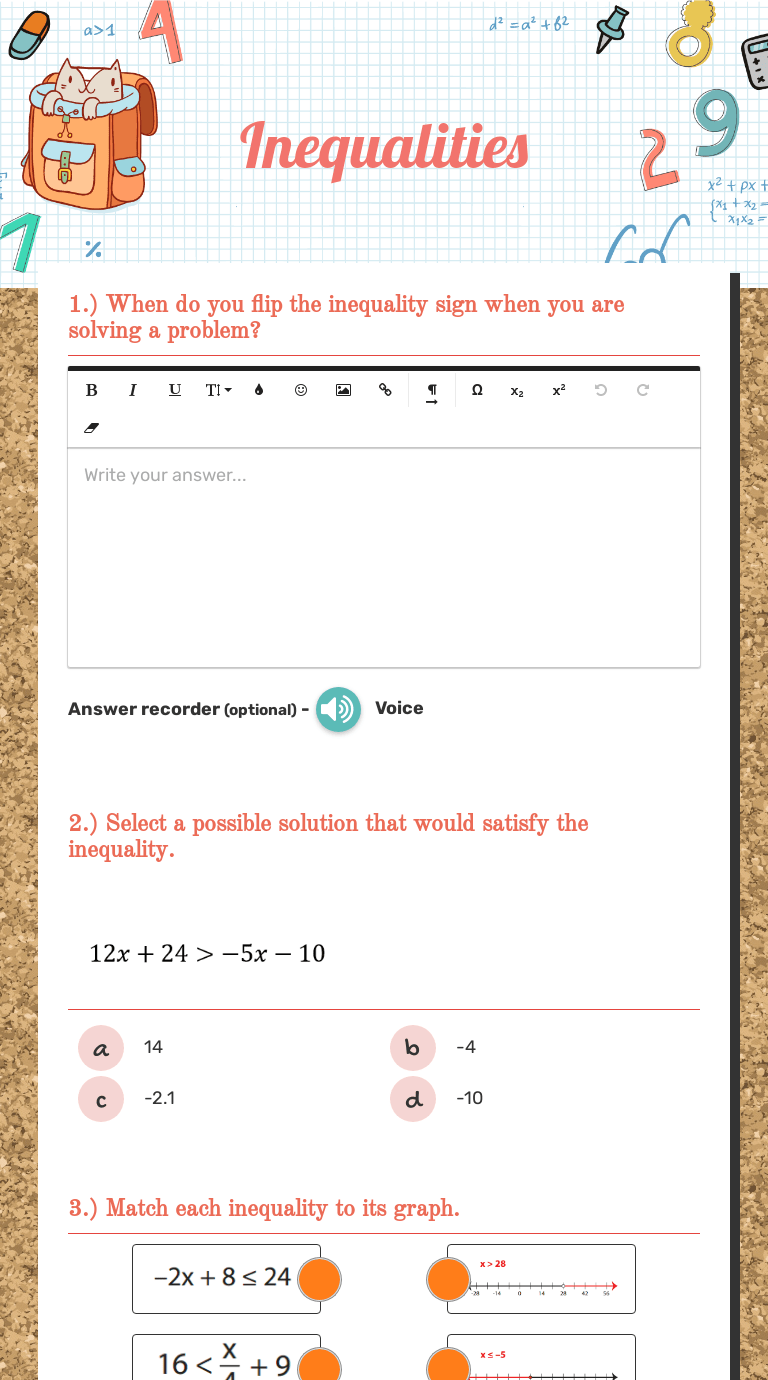 medium resolution of Inequalities   Interactive Worksheet by Laurie Winslow   Wizer.me