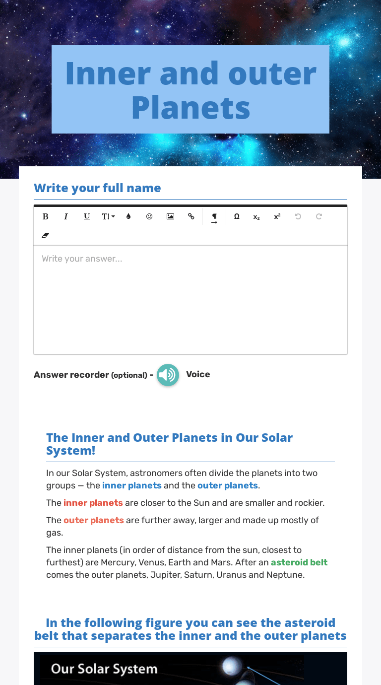 Inner and outer Planets   Interactive Worksheet by Hawraa Abou kays    Wizer.me [ 1380 x 768 Pixel ]