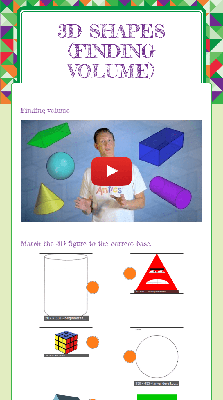 hight resolution of 3D Shapes (finding volume)   Interactive Worksheet by Chelsea Cockrum    Wizer.me