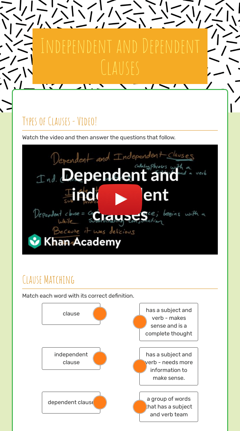 Independent and Dependent Clauses   Interactive Worksheet by M W   Wizer.me [ 1380 x 768 Pixel ]
