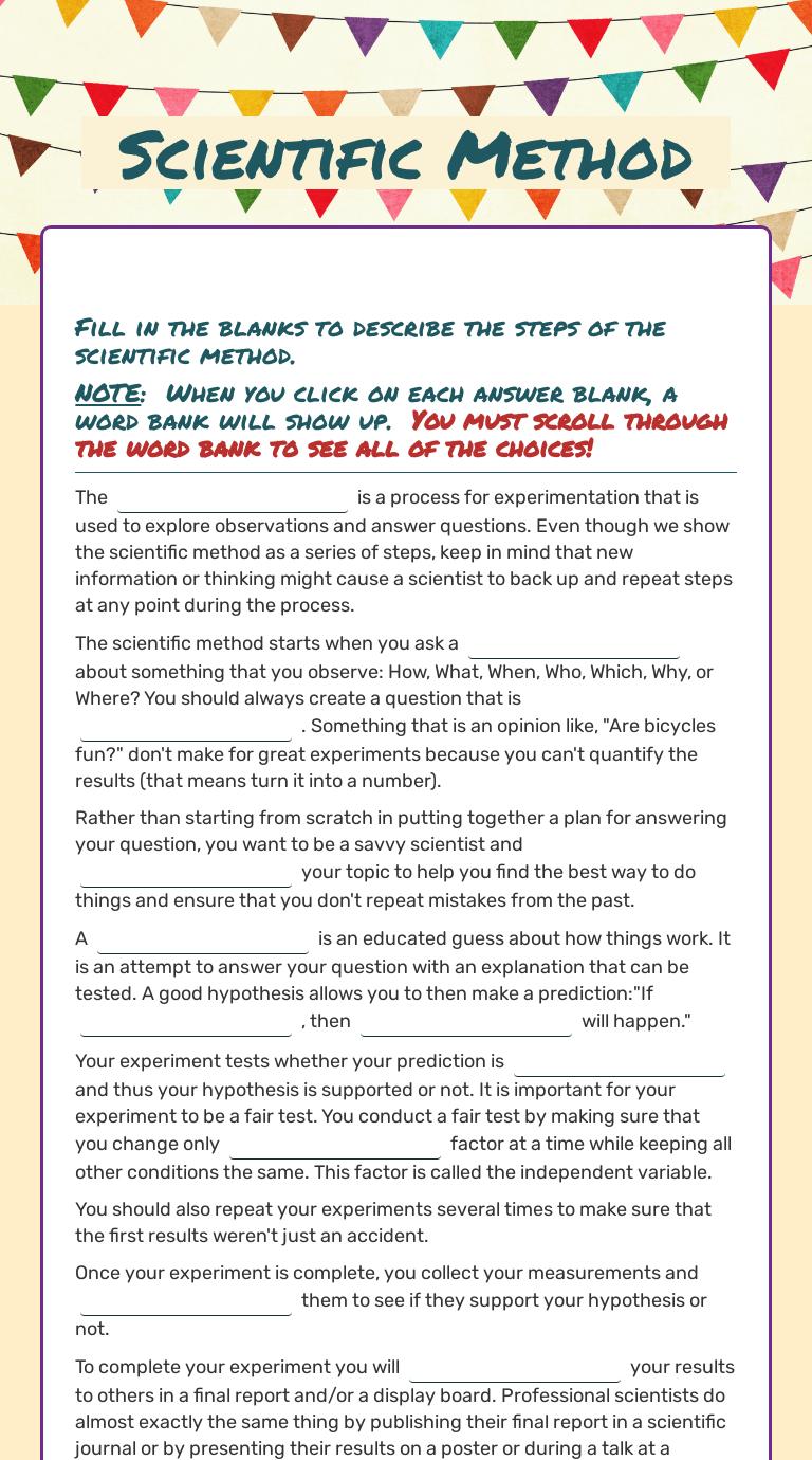hight resolution of Scientific Method   Interactive Worksheet by Brendan Miller   Wizer.me