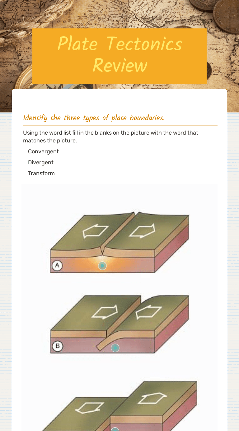 small resolution of Plate Tectonics Review   Interactive Worksheet by Elisa Zajac   Wizer.me