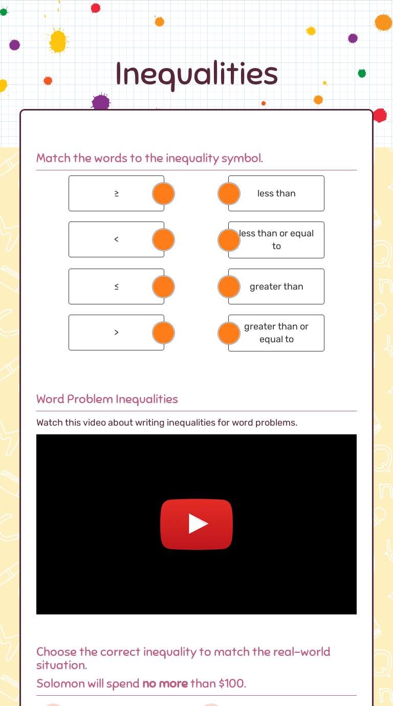 medium resolution of Inequalities   Interactive Worksheet by SHAQUETTA WILSON   Wizer.me
