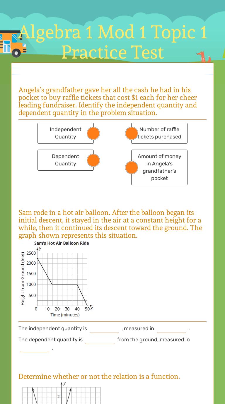 Algebra 1 Mod 1 Topic 1 Practice Test   Interactive Worksheet by Regina  Rorabaugh   Wizer.me [ 1380 x 768 Pixel ]