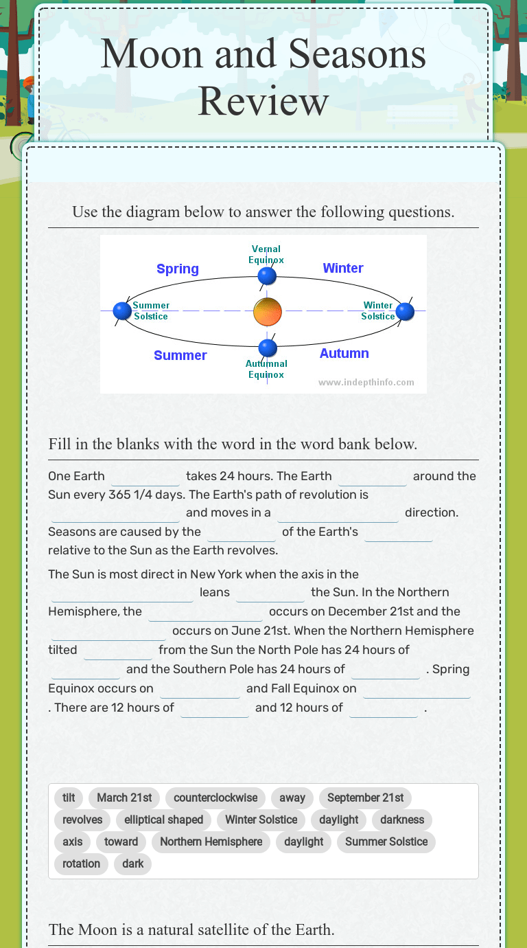 Moon and Seasons Review   Interactive Worksheet by Nora Sachs   Wizer.me [ 1380 x 768 Pixel ]