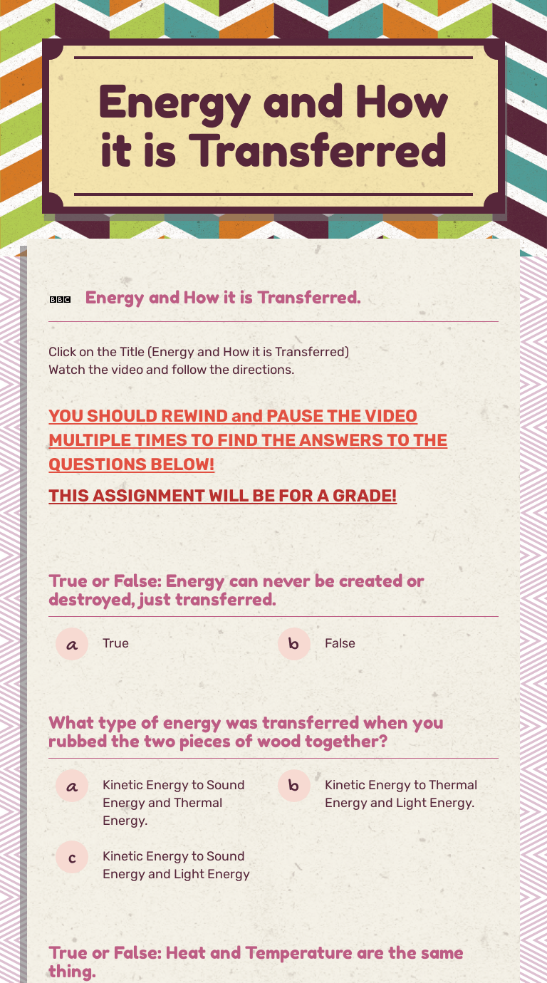small resolution of Energy and How it is Transferred   Interactive Worksheet by Jenna W    Wizer.me