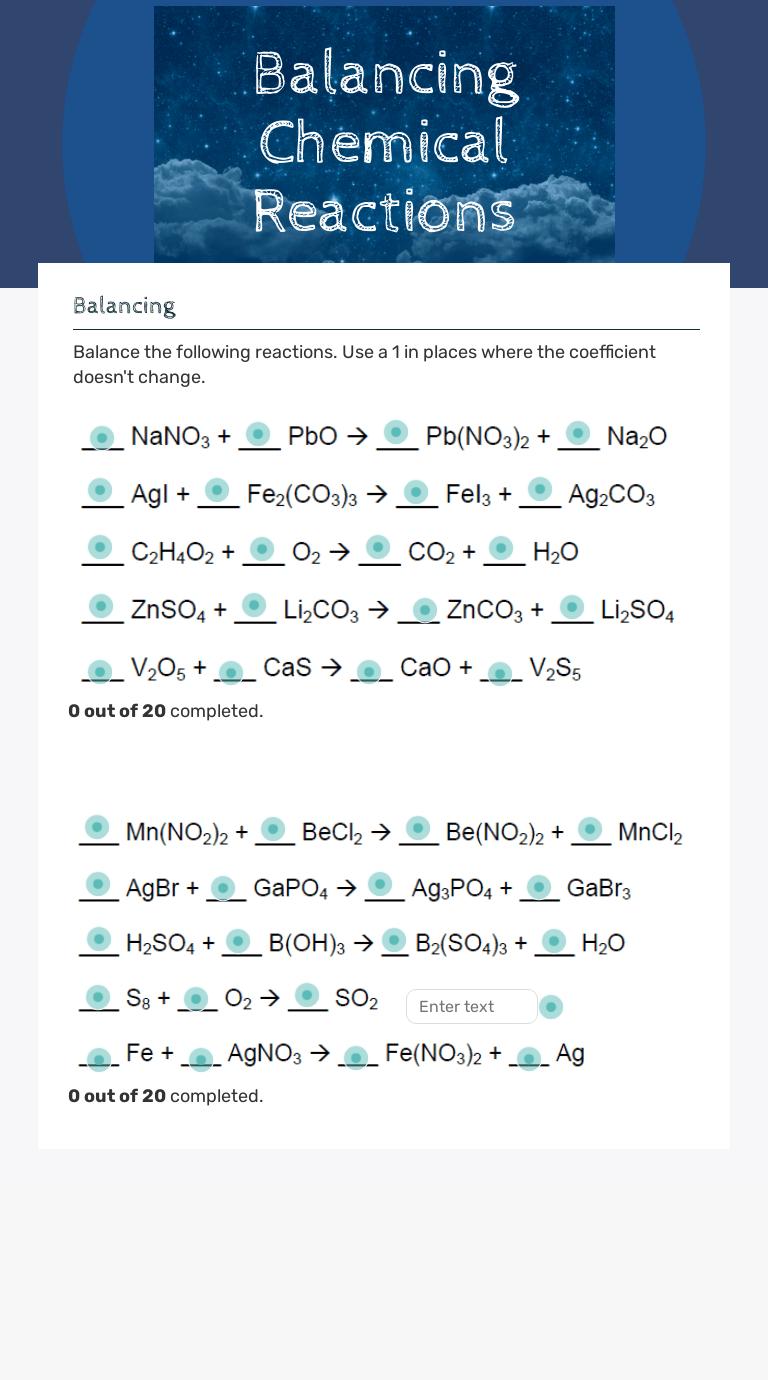 Balancing Chemical Reactions   Interactive Worksheet by Julie Beasley    Wizer.me [ 1380 x 768 Pixel ]