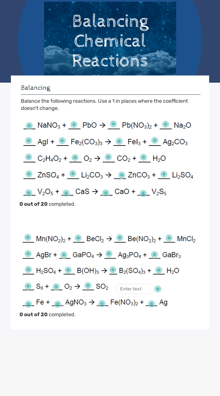 hight resolution of Balancing Chemical Reactions   Interactive Worksheet by Julie Beasley    Wizer.me