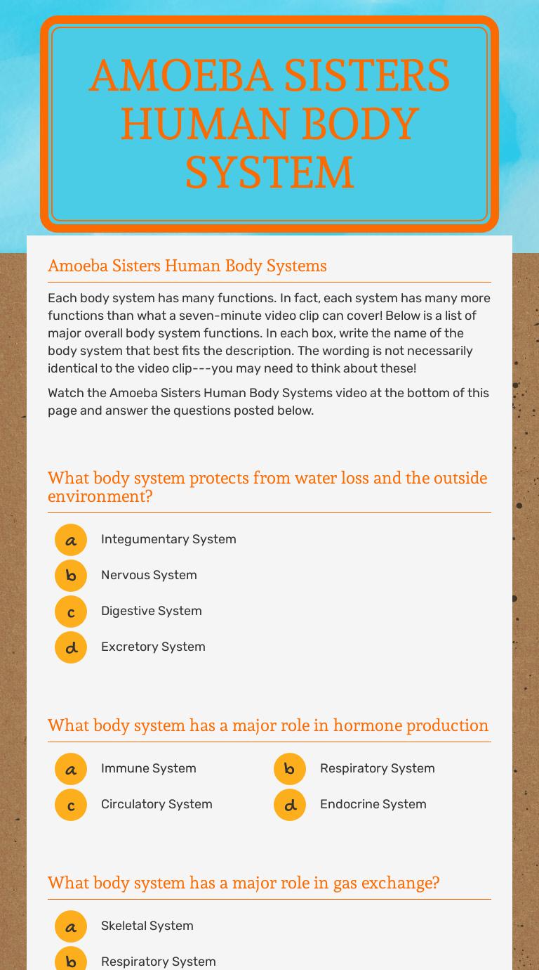 Amoeba Sisters Human Body System   Interactive Worksheet by Julie Gentile    Wizer.me [ 1380 x 768 Pixel ]
