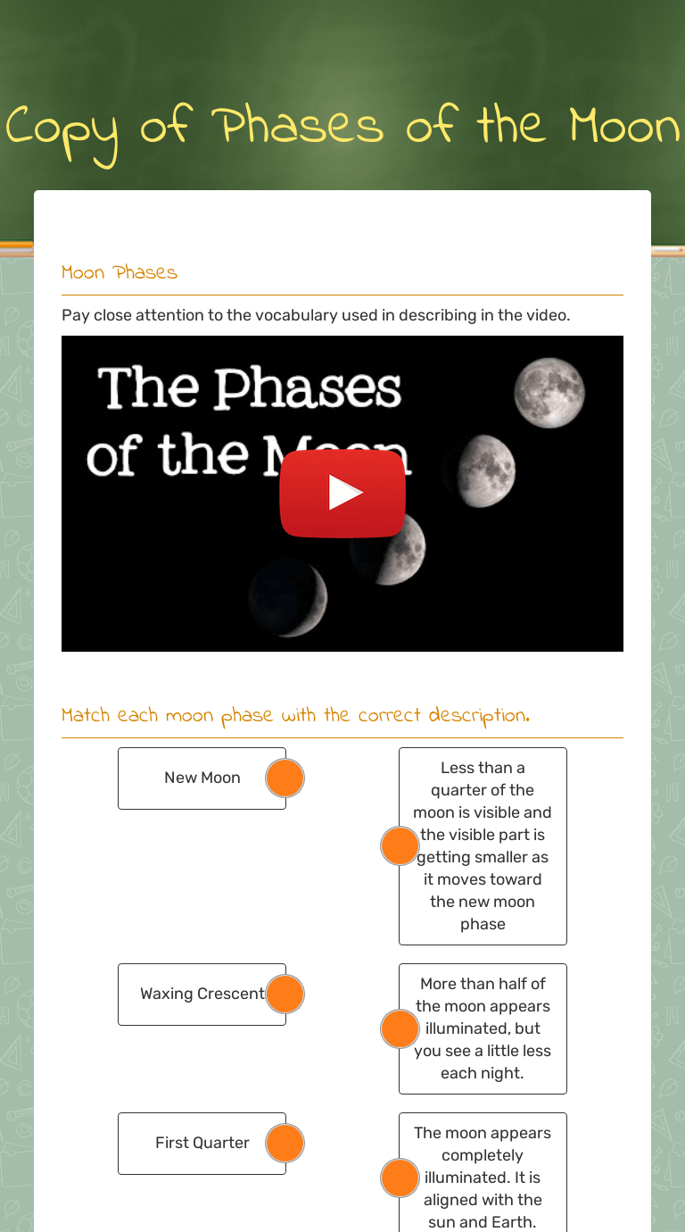 Copy of Phases of the Moon   Interactive Worksheet by Lee Anne Grissom    Wizer.me [ 1380 x 768 Pixel ]