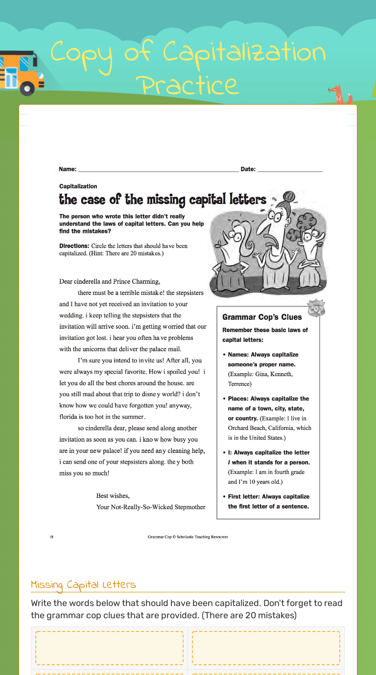 small resolution of Copy of Capitalization Practice   Interactive Worksheet by Katie Dahn    Wizer.me